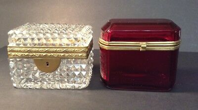 (2) Original 19th Century French Casket Trinket Boxes w/ Brass-Clear & Ruby Red