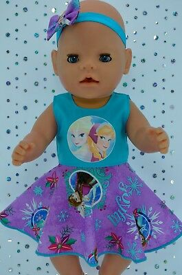 "Play n Wear Doll Clothes To Fit 17"" Baby Born XMAS CIRCLE DRESS~HEADBAND"