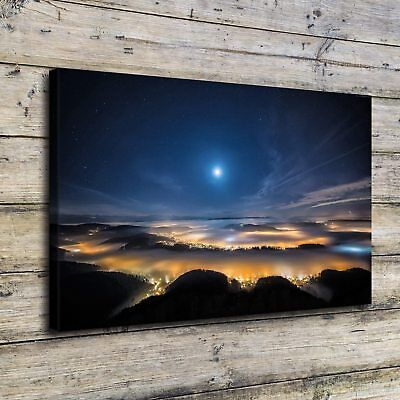 """12""""x22""""Space Night Sky Landscape Painting HD Print on Canvas Home Decor Wall Art"""