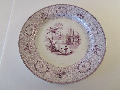 Antique J Wedgwood Singanese Pattern Red Mulberry Transferware Plate Ironstone