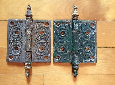 ANTIQUE VICTORIAN EASTLAKE (4 x 4) STEEPLE TOP CAST IRON HINGES, Lot of 2
