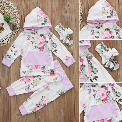 Casual Newborn Toddler Baby Girls Floral Hooded Tops Pants Outfits Set Clothes