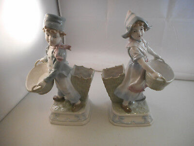 "2 Antique Mint Unmarked German Porcelain Boy/Girl Figurines w/Baskets-10"" Tall"