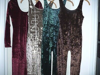 Hunter GREEN SM Crushed velvet Tank Unitard Leotard w/ legs very STRETCHY NEW