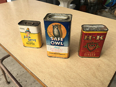 JACK SPRAT H&K SAFE OWL Spice Tins Collection of 3 VINTAGE SPICE TINS -Used Tins