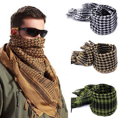 Mens New Keffiyeh Shemagh Army Military Tactical Arab Desert Scarf Head Wrap