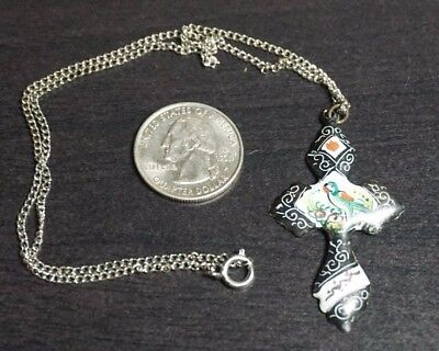 "Vintage Antique Persian Metal CROSS Hand Painted Pendant 16"" Chain  A38"