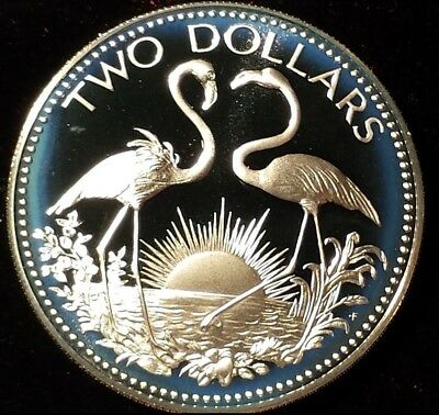 1974 Silver 2 Dollar Bahamas Coin Limited proof mintage 29.8 Grams Sun Flamingos
