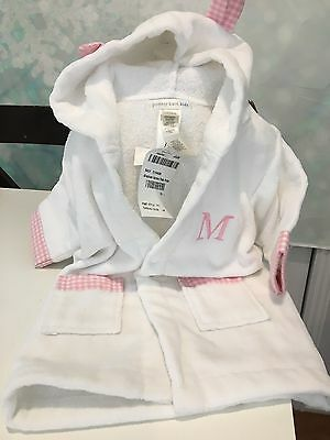"Pottery Barn Kids Gingham Nursery Baby Bath Robe Embroidered ""M"""