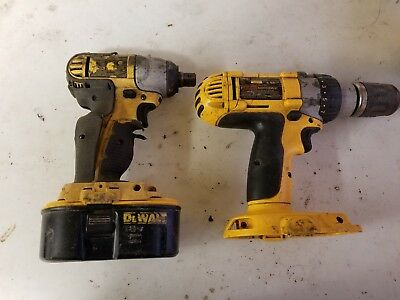 "DEWALT 18V  DRILL1/2"" impact LOT DW987 dc820 HAMMERDRILL impact & battery"