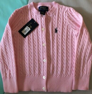 Polo Ralph Lauren Girls Pink Cardigan Size 2