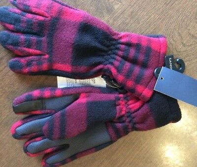 Lands' End Girls ThermaCheck Fleece Waterproof Gloves Size Small Plaid NWT