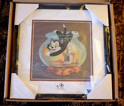 """Pinocchio Figaro & Cleo """"Fishing For a Kiss"""" LE Sericel Framed Animation Cel NEW"""