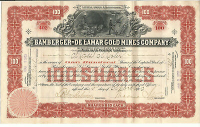 "Bamberger - De Lamar Gold Mines Company #402 (7 1/8"" x 11 3/8"") Moses Mosler"