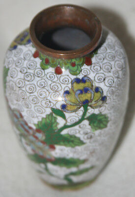 Chinese 1930s Cloisonné Flower Design White Ground Meiping Form Miniature Vase
