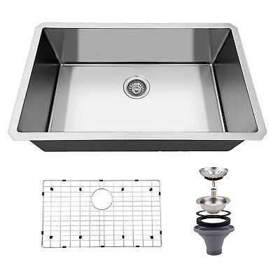 "30""x18'' Stainless Steel Kitchen Sink 16 Gauge Single Bowl 10'' Deep Undermount"