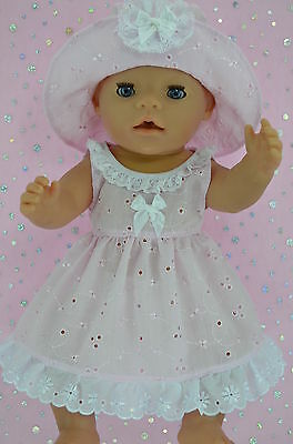 "Play n Wear Doll Clothes To Fit 17"" Baby Born PINK BRODERIE ANGLAISE DRESS~HAT"
