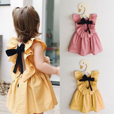 Cotton Toddler Baby Girl Dress Bowknot Princess Party Pageant Dress Kids Clothes