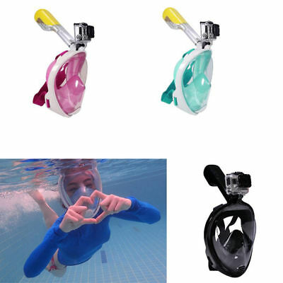 AU Full Face Snorkeling Snorkel Mask Diving Goggles W/ Breather Pipe For GoPro