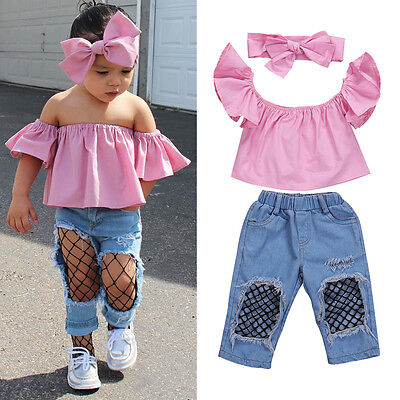 Stylish Toddler Girls Kids Off Shoulder Tops Ripped Pants Jeans 3Pcs Outfits Set