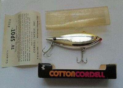Fishing Lure Cotton Cordell The Spot Lure Vintage Orig Box w Clear Slip Cover