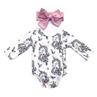 New Infant Baby Girls Unicorn Flowers Romper Long Sleeve Jumpsuit Clothes 0-24M