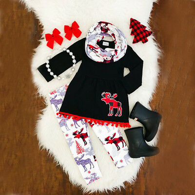 Christmas Toddler Kids Girls Outfits Set Moose Dress Tops Pants Casual Clothes