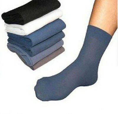 10 Pairs Men's Fashion Casual Dress Business Bamboo Fiber Stockings Thin Socks