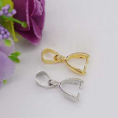 100pcs Silver and Gold Large Drop Pinch Bail Pendant Clasp Finding 16mm to 20mm