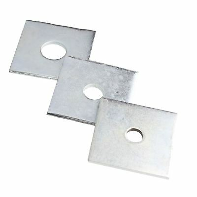 Square Plate Washer Bright Zinc 50mm square 3mm thick with M10 M12 or M16 centre