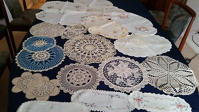 Vintage Doilies - bulk lot of 23 crochet and embroidered doilies