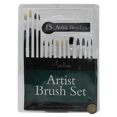 15 Artist Paint Brushes Set Acrylic Oil Watercolour Painting Craft Art Model