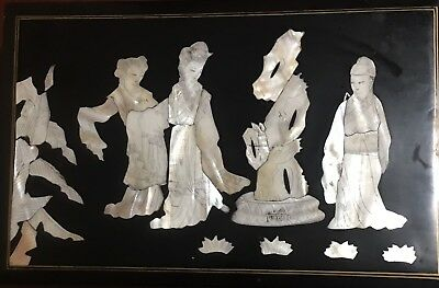 Beautiful Black Lacquered Jewelry Box with Chinese Figures in Mother of Pearl