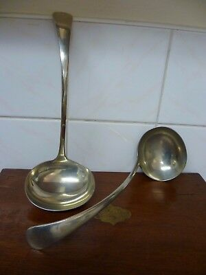 A PAIR OF ANTIQUE, LARGE, OLD ENGLISH PATTERN, SILVER PLATED SOUP LADLES 'WM Co'