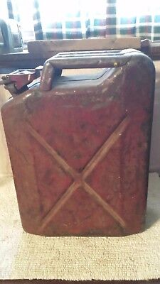 Vintage US Military Red Water or Jerry Can 5 Gallon with Unique Snap Lid