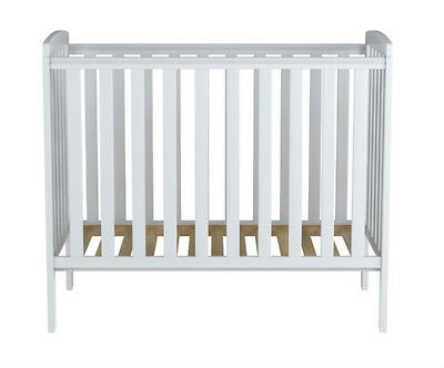 Rafferty Compact Baby Cot - White - Space Saver - & Foam 100 x 50cm Mattress