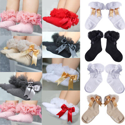 Lovely Baby Girls Kid Toddler Cotton Cute Bowknot Ruffle Frilly Trim Ankle Socks