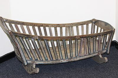 Lovely 18Th Century Continental Painted Cradle With Patina