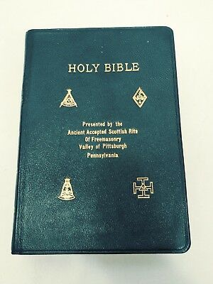 Vtg Holy Bible Presented By the Ancient Accepted Scottish Rite of Freemasonry