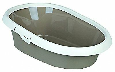 Trixie Paulo Cat Litter Tray with Rim Litter Box 58 x 39 x 17 cm, Taupe/Cream