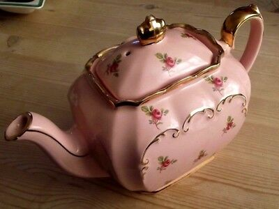 rare & most beautiful sadler cube teapot with roses pink lustre excellent order