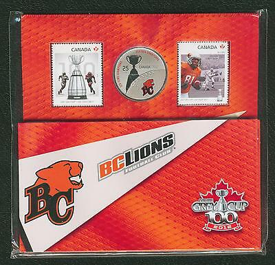 2012 Bc Lions Cfl Colored 25 Cent Coin And Stamp Set Canada