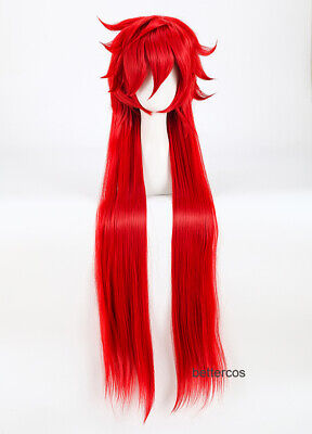 Black Butler Grell Sutcliff Cosplay Wig + Chained Glasses + Free Wig Cap
