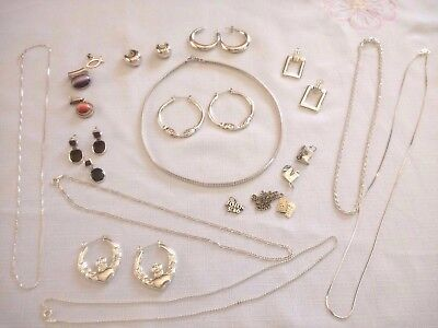 925 Sterling Italy Lot Necklaces~Earrings~Charms~Pendents~Chains~ 103 Grams