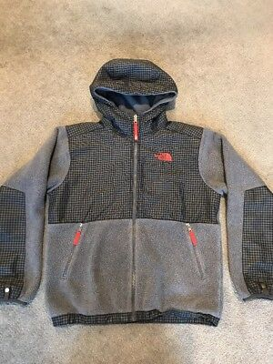 The North Face Gray/Black W/Plaid Fleece Hooded Denali Boys Size Large (14-16)