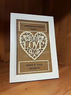 Personalised 5th Wedding Anniversary Frame Gift Wood Anniversary 10 00 Picclick Uk