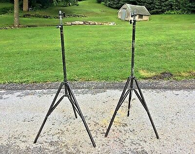 Pair Of Vintage Industrial Metal Adjustable Tripod Stand Steampunk Base Legs