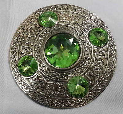 "Scottish Fly Plaid Brooch Green 5 Stone Brass Antique 4""/Kilt Fly Plaid Brooch"