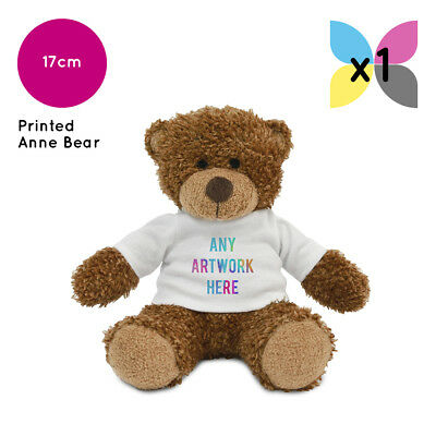 Personalised Soft Toy Anne Teddy Bear Printed Name Photo Image Or Text Gift