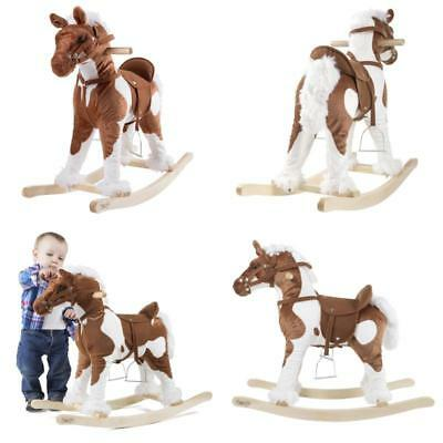 Wooden Rocking Horse Kids Plush Ride On Toy Children Wood Pony Gift With Sounds